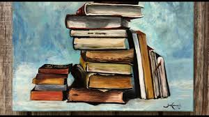 still life of books oil painting by jon well