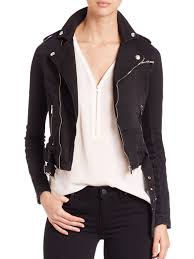 the kooples cropped moto jacket black women s jackets vests leather