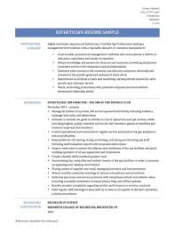 Esthetician Resume Templates Free Legalsocialmobilitypartnership Com