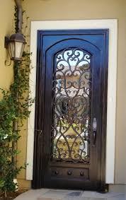 black wrought iron door