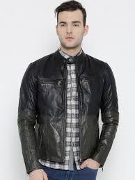 bareskin black olive green dyed leather jacket jackets for men 1139678 myntra