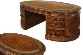 oval leather top partners desk