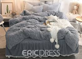 vivilinen solid gray simple style quilting bed skirt 4 piece fluffy bedding sets duvet