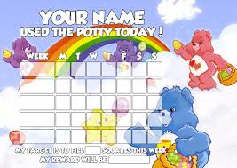 Personalised Care Bears Potty Training Reward Chart With