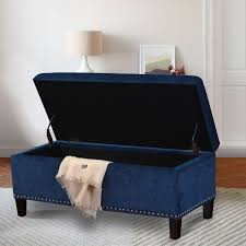 joveco microfiber button tufted storage ottoman bench (dark blue
