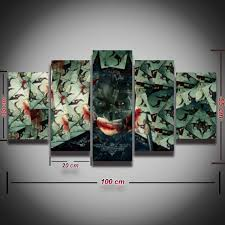 5 panel printed retro picture batman joker dark knight painting for wall home decor bedroom living