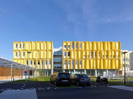 architecture yellow. tetrarc hub creatic commercial building nantes france architecture yellow alucobond