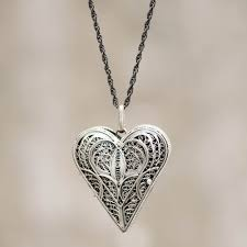 hand crafted heart shaped sterling silver locket necklace filigree heart