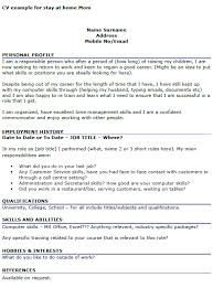 cv work history examples cv example for stay at home mom icover org uk
