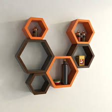 wall furniture shelves. DecorNation Hexagon Wall Shelf, Set Of 6 (Orange And Brown): Amazon.in: Home \u0026 Kitchen Furniture Shelves