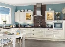 Kitchen With Blue Walls And White Cabinets Best Mattress Kitchen