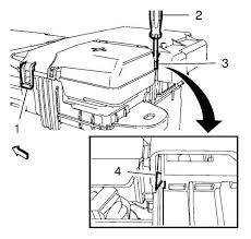 vauxhall workshop manuals > astra j > power and signal close the battery fuse box cover and lock the retaining tabs 1 and 4