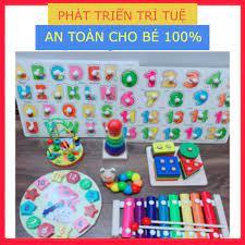 Bộ 8 món đồ chơi gỗ phát triển tư duy sớm Thông Minh Cho Bé (Đồ Chơi Trẻ Em)