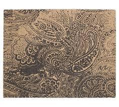 paisley printed natural fiber rug black