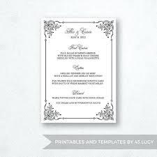 Wedding Bar Menu Template Editable Printable Word Or Pages Mac Half