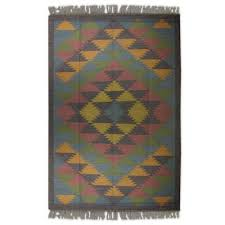 kashmir kaleidoscope jute area rug natural dyes indian dhurrie 6 x 9