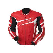 teknic chicane leather jacket red white black loading zoom