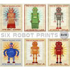 retro robot art prints set of 6 robot prints boys nursery art for boys room robot wall art for kids room john w golden art on robot nursery wall art with retro robot art prints set of 6 robot prints boys nursery art for
