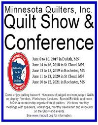 Quilters' Travel Companion - Quilt Shows in Minnesota & Minnesota Quilters Inc. Show & Conference Next Show Dates: June 14-16,  2018. Contacts Website: www.mnquilt.org Email: showdirector@mnquilt.org  Phone: Brenda ... Adamdwight.com