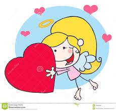 Vol De Fille De Cupidon De B Ton De Dessin Anim Avec Le Coeur