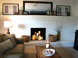 White Brick Fireplace Wood Mantle Painted With Rustic Dark Mantel