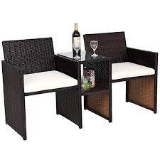 costway patio rattan loveseat table chairs chat set seat sofa conversation cushioned brown