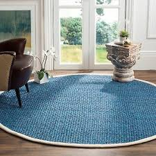 safavieh natural fiber hand woven blue jute area rug 6 x 6 round