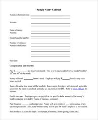 Nanny To Do List Template Free 7 Sample Nanny Contract Templates In Doc Word