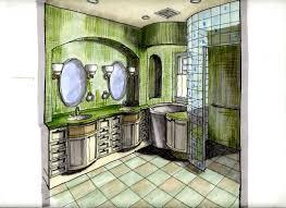 interior design hand drawings. Bath Design Perspective Rendering Interior Hand Drawings I