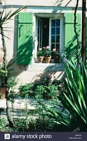 Kleinen Garten Vor Provenzalisches Haus Mit Grünen Fensterläden Auf