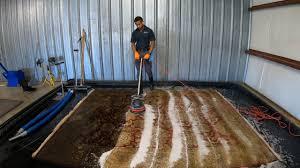 Satisfying 8x10 wool area rug washing - YouTube