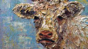 original oil painting impressionism realism art deco abstract cow animal domestic milk x1188