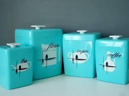 remarkable retro kitchen canisters vintage aluminum canister set blue square canister 4 set