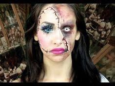 can t decide if you want to go the pretty or y route this why not do both this horror doll makeup tutorial is half glam half creepy