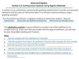 section 3 2 solving linear systems using algebra methods