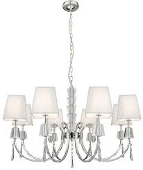 portico polished chrome 8 light chandelier white string shades