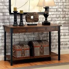 seth rustic 2 drawer wood sofa table