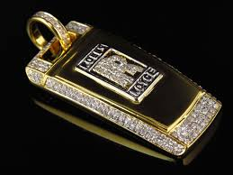 mens solid 10k yellow gold rolls royce key diamond pendant 1 75 in charm 1 5 ct