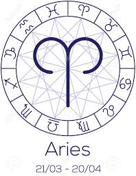 Zodiac Sign Aries Astrological Symbol In Wheel With Polygonal