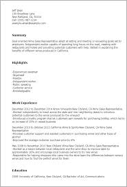 Resume Templates: Wine Sales Representative