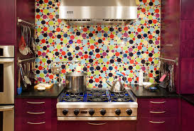 kitchen ideas beautiful purple kitchen cabinet with cool colorful circle buble polka dot glass tile