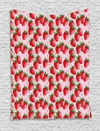 red tapestry juicy strawberries fruit
