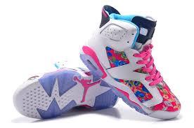 jordan shoes 2017 for girls. girls air jordan 6 retro gs white black pink flower leaf print for sale-4 shoes 2017 o