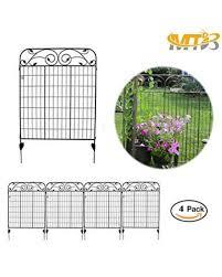mtb black steel decorative fence panel 8 leaves metal garden border