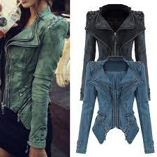 punk power studded shoulder notched lapel denim jacket