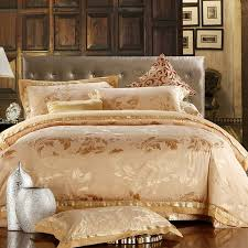 boutique gold fern leaf pattern modern chic bling satin luxurious jacquard satin full queen size bedding sets