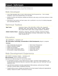 Web Developer Resume Web Developer Resume Sample Resume For An Entry