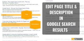 How To Edit The Page Title And Page Description In Google