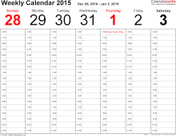 Calendar Template Printable 2015 Weekly Calendar 2015 For Word 12 Free Printable Templates