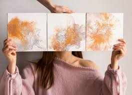 set of 3 wall art canvas small gold